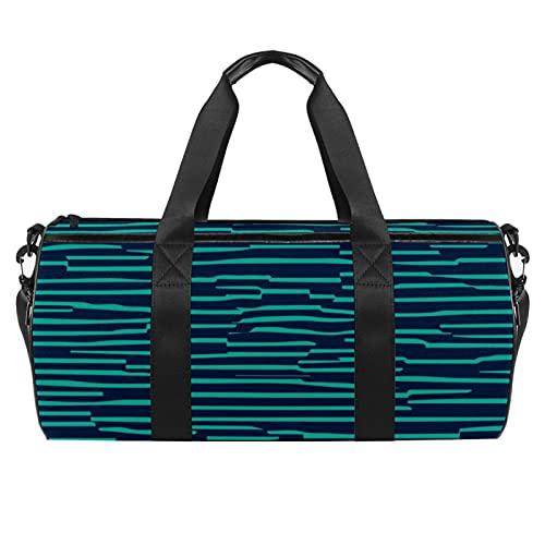 Bolsa de gimnasio verde a rayas para hombres y mujeres bolsas de fin de semana, bolsa de viaje con bolsillo impermeable