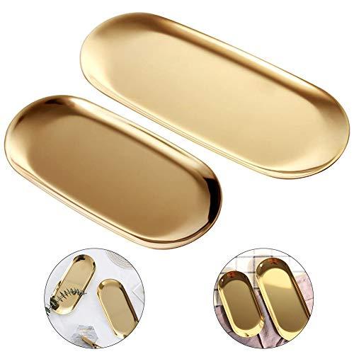 GOODGDN 2 Sätze Gold Oval Edelstahl Schmuck Tablett, Handtuchablage Teller Teller Tee Obstschalen Kosmetik Schmuck Teller,Gold, Oval – 2 Größe