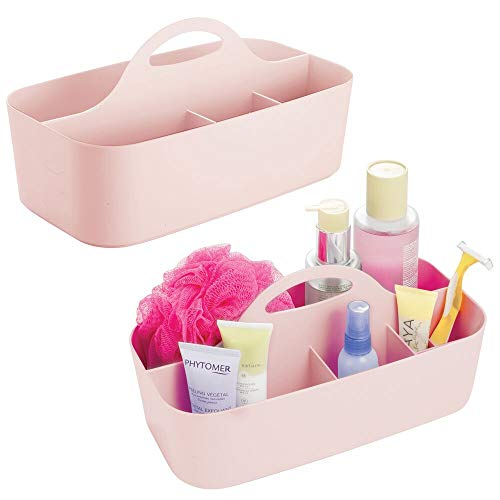 mDesign Plastic Portable Storage Organizer Caddy Tote - Divided Basket Bin with Handle for Bathroom, Dorm Room - Holds Hand Soap, Body Wash, Shampoo, Conditioner, Lotion - Large - 2 Pack - Light Pink