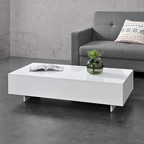 [en.casa] Mesa de Centro Braunschweig 115 x 55 x 31 cm Mesa Baja Mesa de Salón Auxiliar Mesa de café Blanco Alto Brillo