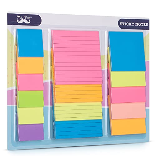 Mr. Pen- Sticky Notes Set, Assorted Sizes, 15 pc, Bright Colors, Sticky Note Pads, Bible Sticky Notes, Sticky Notes, Colored Sticky Notes, Sticky Note Pads, Colorful Sticky Notes Pack, Bible Supplies