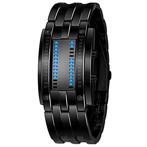 SXXYTCWL Enfriar Binario Digital Relojes Negro de Acero Inoxidable única Matriz de LED Azul Creativo de la Manera estudiantiles Pareja Impermeable Relojes de Pulsera jianyou (Size : Women)