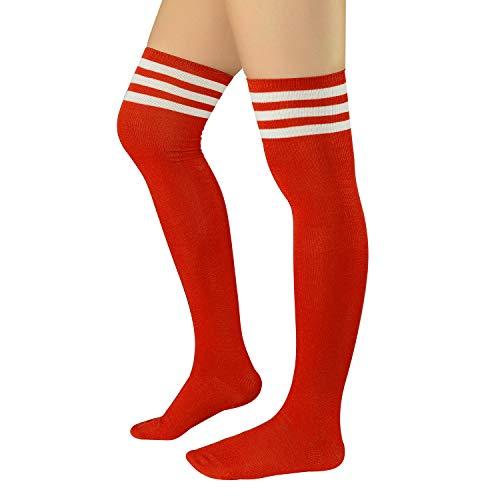 Zando Women Over Knee Stockings Thigh High Socks Football Socks Thin Striped Casual Long Socks Athlete Socks Cosplay Kawaii Christmas Costume Socks 1 Pair Red White