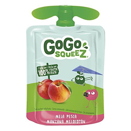 GoGo Squeez - Purea di Frutta, Gusto Mela e Pesca, Ingredienti Naturali con Solo Zuccheri della Frutta, Snack Ideale per Bambini - Confezione da 18 Squeez da 90g
