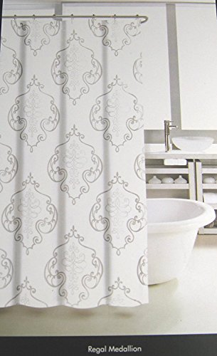 Tahari Home Luxurious Fabric Shower Curtain-Regal Medallion Whtie/Gray-72' X 72'