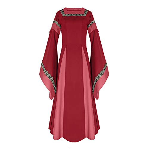 Review Sumeimiya Medieval Renaissance Dress Halloween Cosplay Costume for Women Lace Up Vintage Floo...