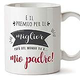 Mugffins Tazza papà (Miglior Padre del Mondo) - Premio Come Miglior papà Medio dell'Anno - Idee Regali Originali Festa del papà