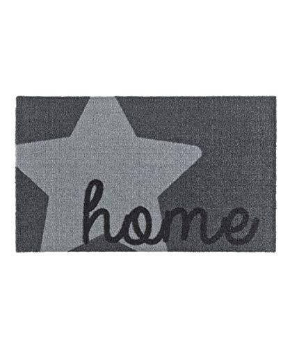 Zala Living Stern Home Grau 50x70 cm Fußmatte Schmutzfangmatte Sauberlaufmatte Türmatte Dekomatte, Polyamid, 50 x 70 x 0,7 cm