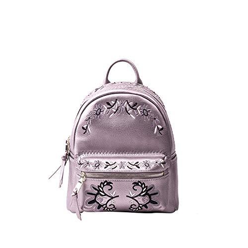Old street Mini-Rucksack für weibliche koreanische Stickerei, Leder, Weiá (Silbergrau), Einheitsgröße