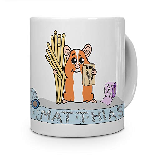 printplanet Tasse mit Namen Matthias - Motiv Hamstern - Namenstasse, Kaffeebecher, Mug, Becher, Kaffeetasse - Farbe Weiß