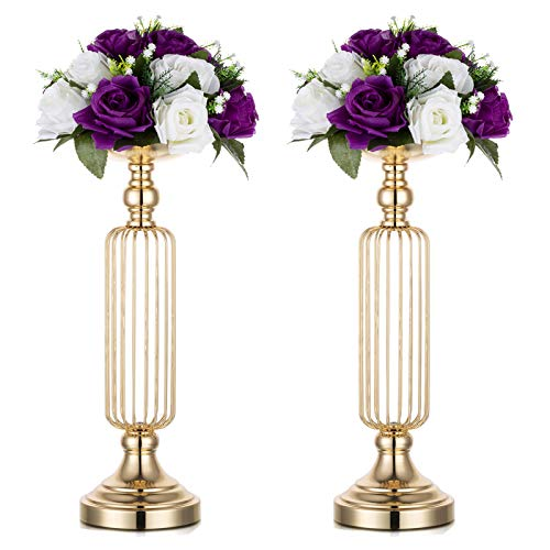 Nuptio 2 Pcs Candle Holders for Pillar Candles, 43.5cm Tall Wedding Centerpieces for Tables, Vase for Flowers Table Candle Holder for Christmas Dinner Event Party Ceremony Housewarming Gift