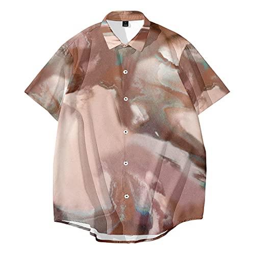 CHUIKUAJ Hombre Moda Camisas Manga Corta - Casual Cárdigan/Creativo Impreso Poliéster Camisetas/Primavera Verano Estilo Hip Hop Estilo Callejero/Gran Tamaño S-6XL,Brown-6XL