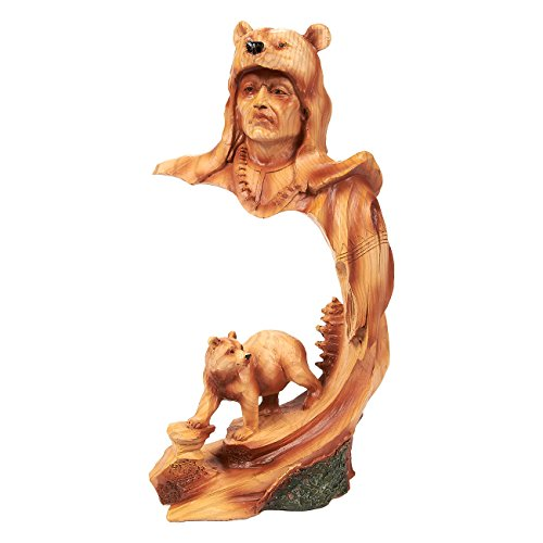 Native American Indian – Figura de guerrero indio nativo Decor, cara de polirresina y oso escultura de la India para la decoración de interiores, color marrón – 4,5 x 9 x 3 inches
