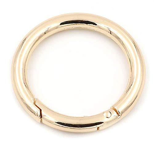 2moschettoni a scatto rotondi, a molla, portachiavi a molla per fibbie ad anello, Gold, 38 mm