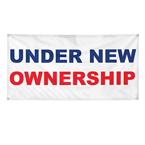 Vinyl Banner Multiple Sizes Under New Ownership Blue Red Business Outdoor Weatherproof Industrial Yard Signs 4 Grommets 12x30Inches
