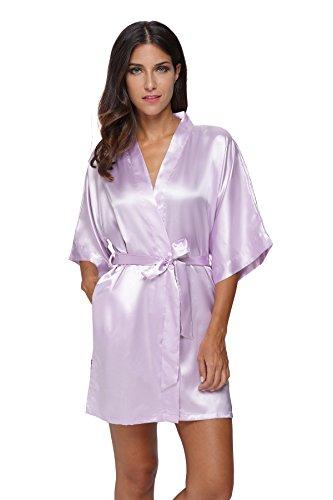 The Bund Women's Pure Colour Short Kimono Robes with Oblique V-Neck, Medium, Light Purple