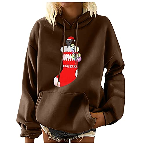 ZDFER Hoodies for Women Christmas Print Hooded Sweatshirts Loose Sweater Casual Long Sleeve Pullover Tops with Pockets Xmas Back To School Outfits Uniform Student Best Mom Ever Blouses for Women