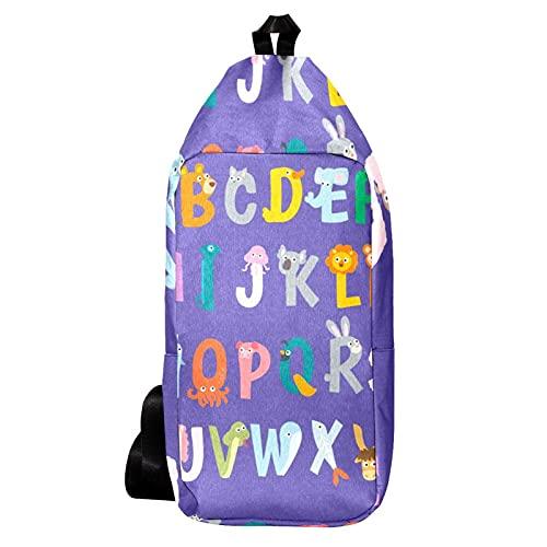 EZIOLY Animais - Mochila de hombro con alfabetos con letras para viajes, senderismo, para hombres y mujeres