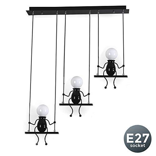 Pendelleuchte Schwarz Metall Hängelampe Kreativ Cartoon Design Höhenverstellbar 3-flammig E27 Hängeleuchte Deko leuchte Lampe Geeignet für Wohnzimmer Kinderzimmer Schlafsaal Restaurant Hotel Küche