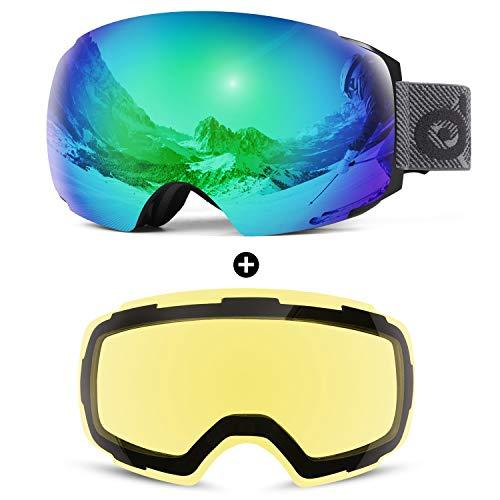 Odoland Skibrille Ski Goggles für Damen und Herren Jungen Rahmenlose Snowboardbrille mit Magnetische Wechselglas OTG Design UV-Schutz Helmkompatible zum Skifahren Grün VLT 18%+ Gelb VLT 83%