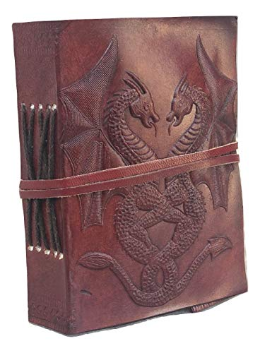 Handmade Vintage Leather Double Dragon Bound Journal Notebook Diary Sketchbook Travel Office Thought Blank Book Best Gift for Men & Women (Brown, 3.5*5')
