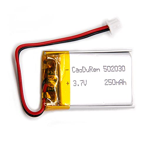 MSDS Verified 502030 3.7V 250mAh Li Lithium Polymer Ion Battery 2 Pin 1.25mm JST Connector for VXI BlueParrott B250-XT Bluetooth Headset Replacement fit Mini DVR Keychina Cam Small Camera 808,GPS,MP3