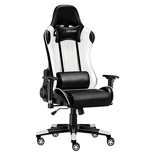 JL Comfurni Gaming Chair Desk Chairs Office Computer Chair Heavy Duty Reclining High Back with Lumbar Support (Black&White)