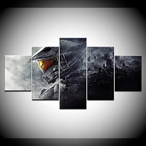 5-teiliges Wandgemälde Leinwanddrucke Poster Halo 5 Guardians Videospiel Modulare Wandkunst Wohnkultur Kunstdruck Bild Grafik(Frameless size1)