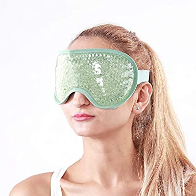 Cold Eye Mask, Cooling Eye Mask with Gel Beads, Gel Face Mask for Puffy Eyes Hot Cold Compress, Helps to Sooth Tired Eyes, Migraine, Dark Circles, Headaches and Hangovers