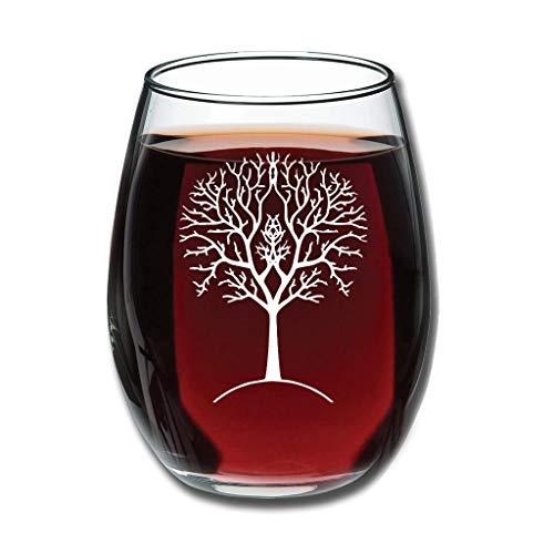 Bohohobo Libbey Weinglas ohne Stiel, Baum der Gondor, 350 ml, Weinglas für Rot- und Weißwein, spülmaschinenfest, herzwärmender Geschenk für Hochzeit, Weiß, 350 ml