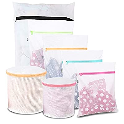 Eono by Amazon - Mesh Laundry Bags - Pack of 7 Reuse Durable Washing Machine Bag for Delicates Blouse, Hosiery, Underwear, Bra, Lingerie Baby clothes