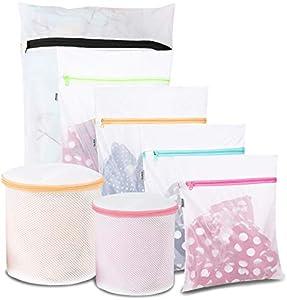 Eono by Amazon - Bolsa para Lavadora Bolsa Malla de Lavandería para Lavadoras Bolsas de Colada para Ropa Delicada Sujetador Interior Calcetines Zapatos, 7 Pcs (1XL+2L+2M+2Bolsa de Sujetador)