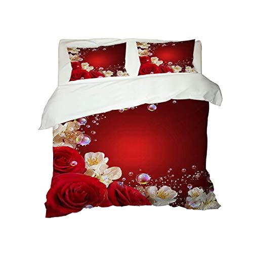 Juego De 3 Piezas De Funda Nórdica Rosa 3D De Estilo Europeo Adecuado para Hotel, Dormitorio, Ropa De Cama De Sala De Estar 2 Fundas De Almohada Funda De Edredón Rojo
