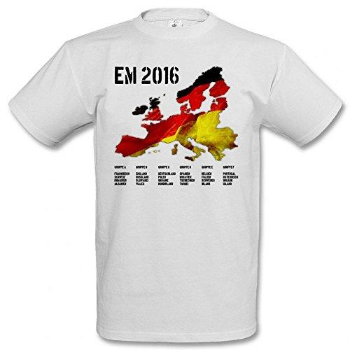 Männersport.de EM 2016 Europakarte Deutschland T-Shirt Europameisterschaft 2016, Größe:XL;Farbe:weiß