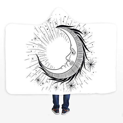 PANDAWDD deken Luna wit zwart deken van fleece van microvezel Sherpa van koraal draagbaar voor reizen 150 x 200 cm