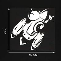 車のステッカーの装飾 15.5x14.8cmロケット宇宙船アート装飾的な壁画ビニール車のステッカーデカール黒/銀 (Color Name : Silver)