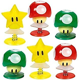 """Amscan Super Mario Brothers Birthday Party Mushrooms & Star Pop-Up Toy Favors, Multicolor, 1 1/4"""" (Value Pack: 12 Count)"""