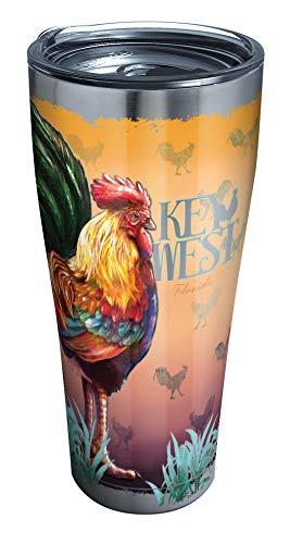 Tervis Florida-Key West Rooster Isolierbecher mit durchsichtigem & schwarzem Hammer-Deckel, 850 ml, Edelstahl, silberfarben