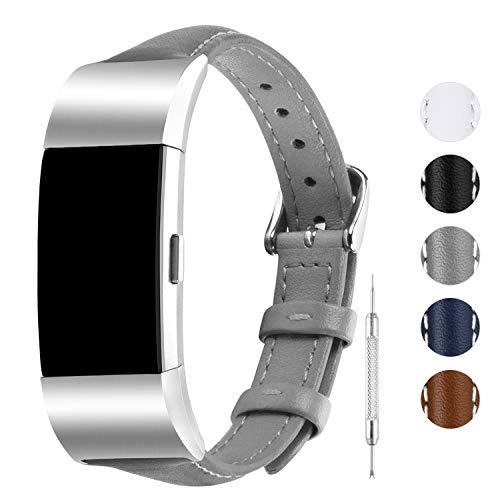 Fullmosa Kompatibel Armband Fitbit Charge 2,Leder Schmal Serie Uhrenarmband für Charge2,Grau
