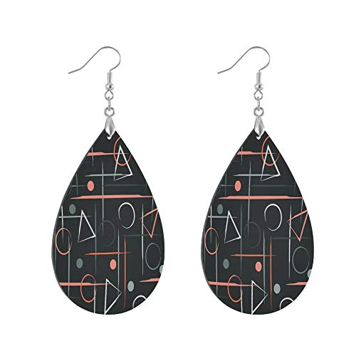 ADMustwin Wooden Earrings Polka Dot Geometric Pattern for Women Girls Silver Plated Copper Earrings Teardrop Earrings Lightweight Dangle Earrings Fashion Jewelry