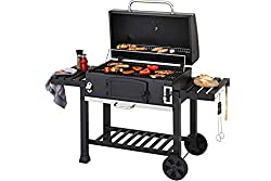 Portable Outdoor Charcoal Barbecue, Along With a Built In Thermometer To Keep Optimum Temperature When Barbecuing! Includes Warming Rack Inside Hood & Includes Stainless Steel Handle to up lift & Down Lift to gain Optimum Heat Temperature! Includes t...