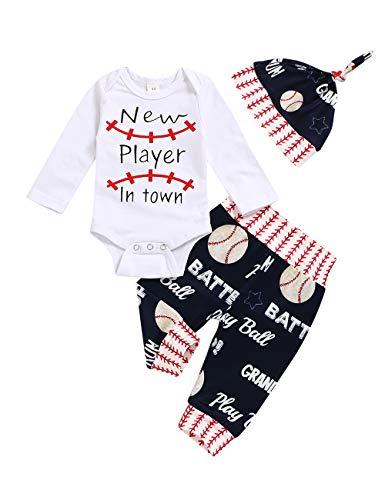Baby-Kleidungsset für Jungen, Baseball-Druck, langärmeliger Body + Hose, Camouflage-Strampler Gr. 0 Monat, Weiß 3