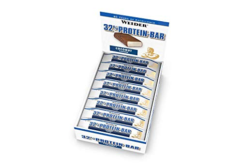 WEIDER 32{878383a883e5a3c7cdc428858f21783d2f44ea40c68d0e9585c1eb923375bc91} Protein Bar, Kokos, 24 leckere Eiweißriegel mit zartem Schokoladenüberzug