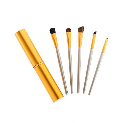 ZHXH 5 Voyage Brosse Portable Maquillage Mini Yeux Mis Eyeliner Fard À Paupières Frottis Lèvres Brosse À Sourcils Kit Brosse De Maquillage,d'or