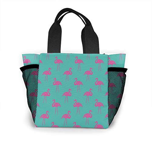 Lunch Cooler Bag Women Tote Lunch Box Preppy Flamingo Lunch Bags with wide-open for women