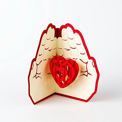 uniqueplus Give Love Tema 3d Pop Up Kirigami Tarjetas de regalo de felicitación para aniversario, bodas, cumpleaños, Pareja, día de la Madre, día del padre, gracias