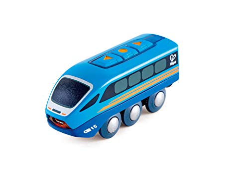 "Hape Remote Control Engine Train | Kids Railway Toy, App or Button RC Vehicle with 5 Playable Sounds, Rechargeable Battery Feature, Blue, 4.65"" Length x 1.5"" Width x 1.97"" Height"