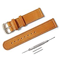 腕時計ベルト Made in Japan 本革 イタリアンレザー 24mm 交換用 国産 Italian Leather 日本製 セパレート ベルト ステッチ 時計ベルト レザー [シルバー 尾錠] (色 キャメル)