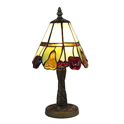 Tiffany Tiffany Lámpara de Mesa 7 Pulgadas Blanca, Vitrales Lámpara de Mesa de Estilo Pastoral Adecuada Para Salón, Linda Mini Luz de Noche Para el Dormitorio/Sala de Estar de Los Niños