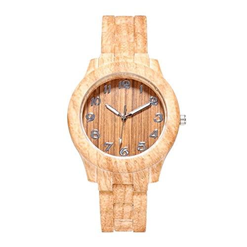 CXSM 1 Uds, Relojes de Mujer, Reloj de Mujer de Grano de Madera de Moda, Reloj de Cuarzo de Madera Digital Simple, Relojes de Pulsera de bambú B